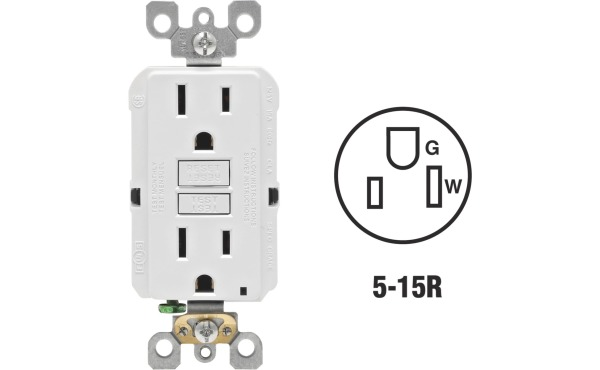 Leviton SmartlockPro Self-Test 15A White Residential Grade Rounded Corner 5-15R GFCI Outlet