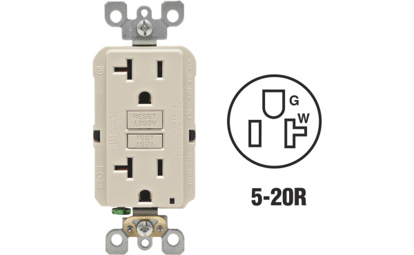 Leviton SmartlockPro Self-Test 20A Light Almond Commercial Grade Rounded Corner 5-20R GFCI Outlet
