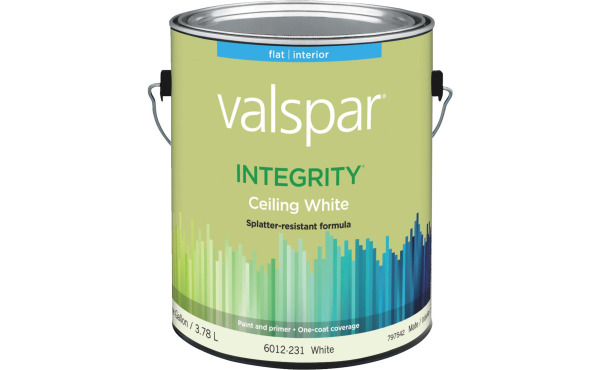 Valspar Integrity Latex Paint And Primer Flat Ceiling Paint, White, 1 Gal.